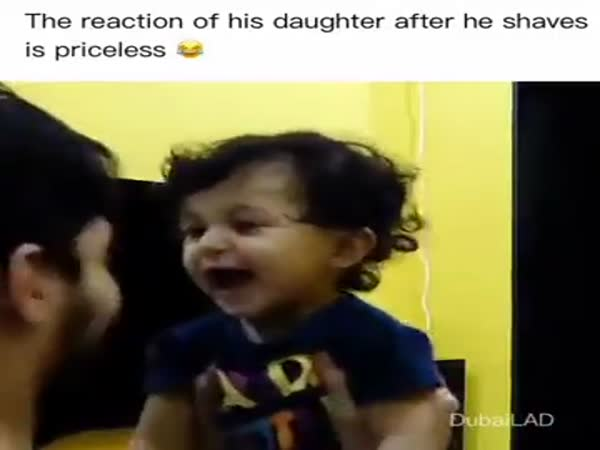 The Girl's Reaction When She Looks At Her Father Without Beard
