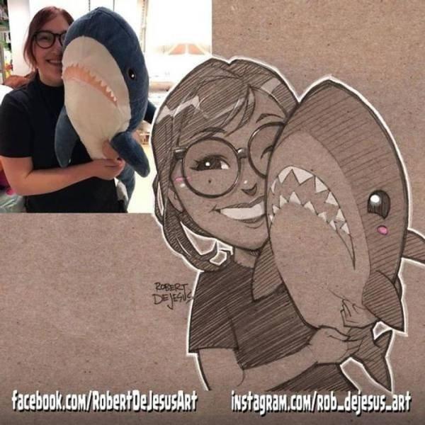 Robert DeJesus Turns Strangers Into Cartoon Characters (30 pics)