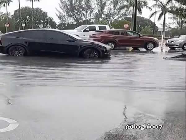 Summoning A Tesla Out Of A Flooded Parking Lot