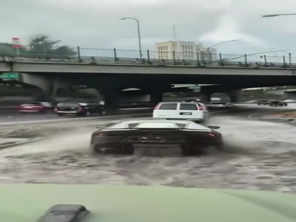 Watch Lamborghini Drive Through Flood