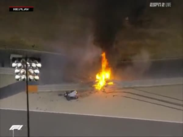 Romain Grosjean Massive F1 Crash