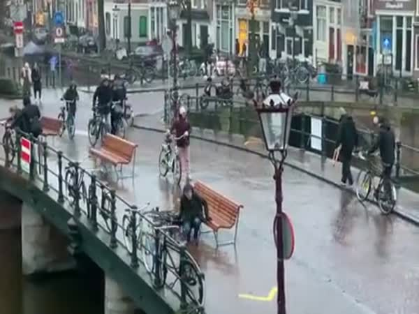 Dutch Problems. Slippery Bridges Make It Hard To Ride Bikes