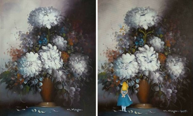 Artists Improved Thrift Store Paintings In A Funny Way (33 pics)