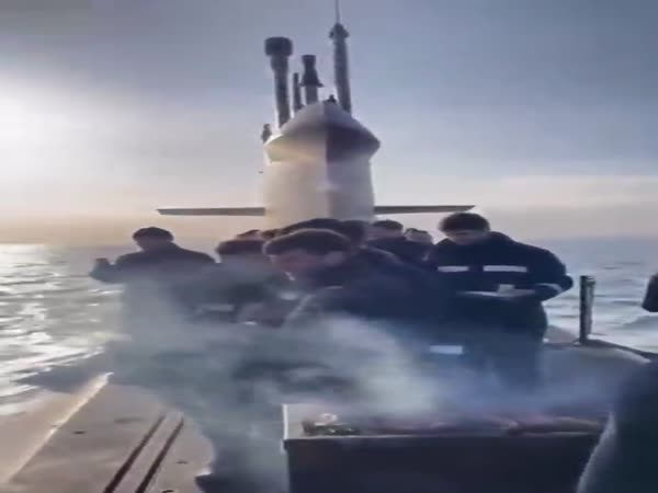 Dutch Marines Having A Barbecue On Top Of A Submarine