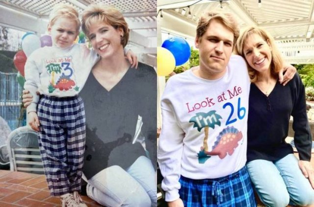 People Recreate Old Family Photos (18 pics)