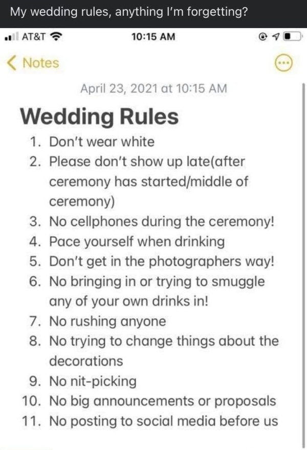 Bride Shares Wedding Rules (10 pics)