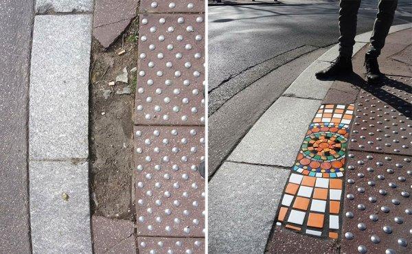 Artist Restores Street Cracks With Beautiful Mosaics (35 pics)