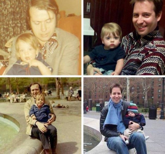 Families Recreate Their Old Photos (24 pics)