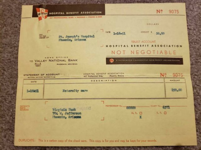 American Medical Bills From The 20'th Century (30 pics)