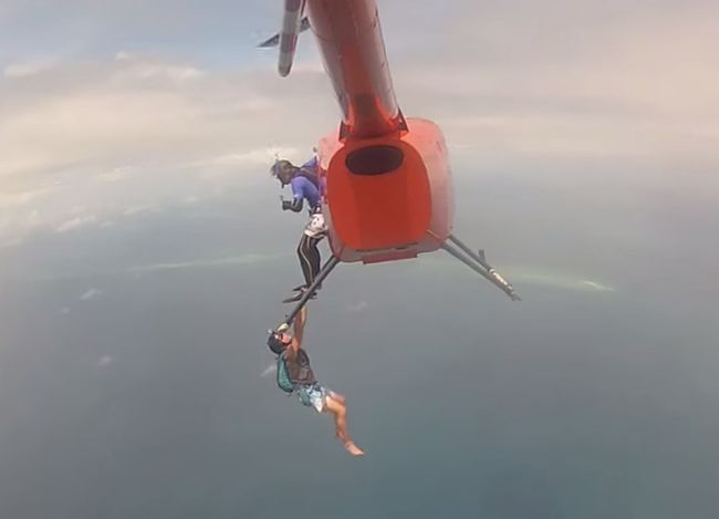 You Won't Believe This Crazy Scuba/Skydiving Stunt