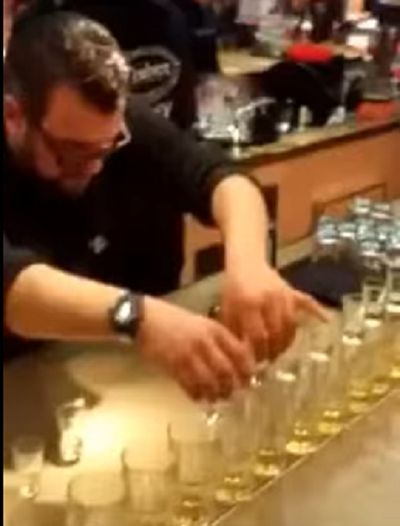 Awesome: How to serve 14 JÄGERBOMBS