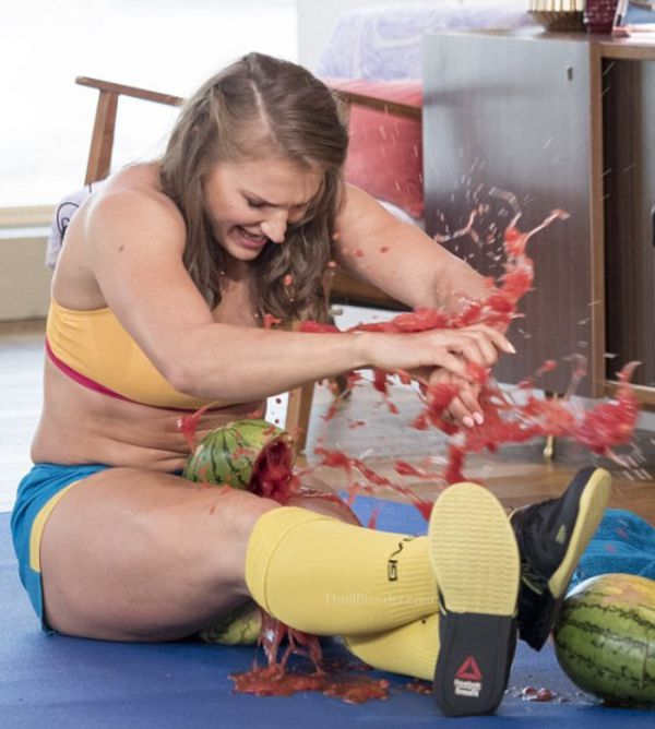 Olga Liaschuk Is A True Thigh Master! Watch Her Crush Watermelons!