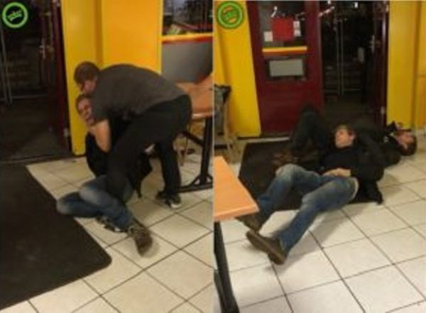 Two Drunks Get Laid Out By One Man After Trashing A Chinese Cafeteria!