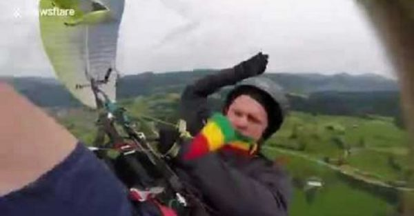Screaming Man Plunges To The Ground In Paragliding Accident