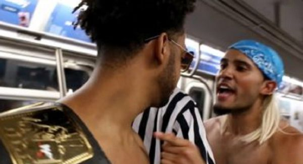 Dudes Break Out Into A WWE Style Royal Rumble – ON THE SUBWAY!