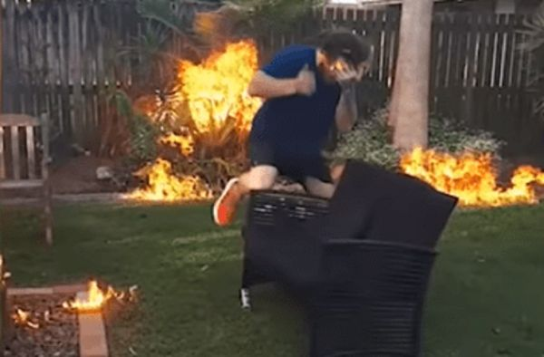 Idiot Nearly Burns Down Mom's Backyard