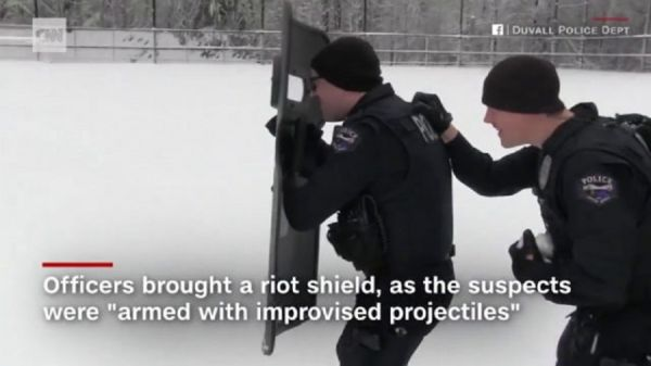 Check Out A  Tactical Response To Snowball Fight  (Video)