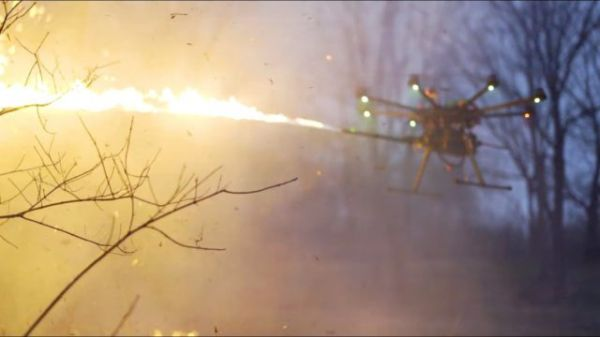A Flame-Throwing Drone? Yep  (Video)